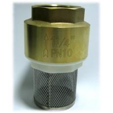 """Обратный клапан 1 1/4"""" пласт. затвор с фильтром"""