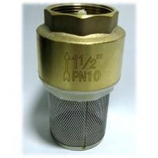 """Обратный клапан 1 1/2"""" пласт. затвор с фильтром"""
